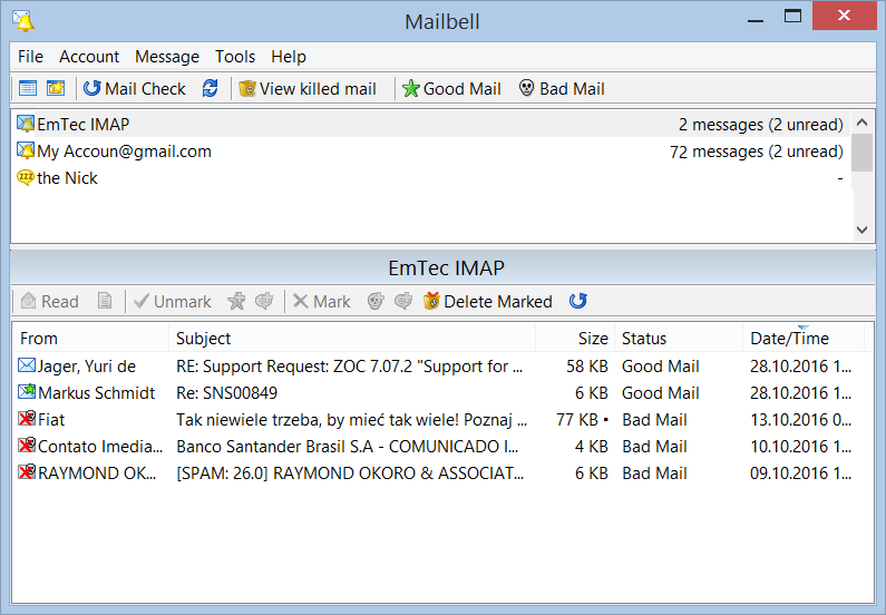 Windows 7 MailBell (Email Notify, Spam Blocker) 2.63 full